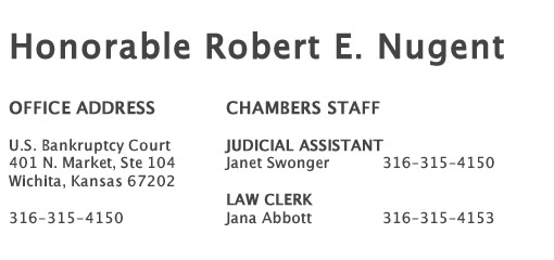 Judge Robert E  Nugent | District of Kansas | United States